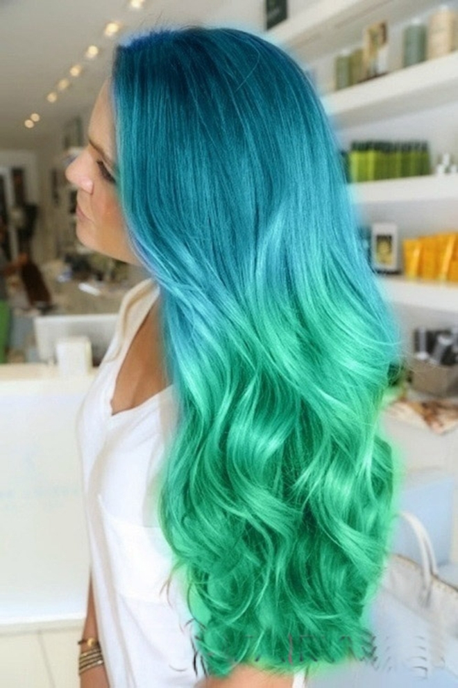 Newlookfree Shipping Cheap Long Wavy Two Tone Ombre Hair Color Blue