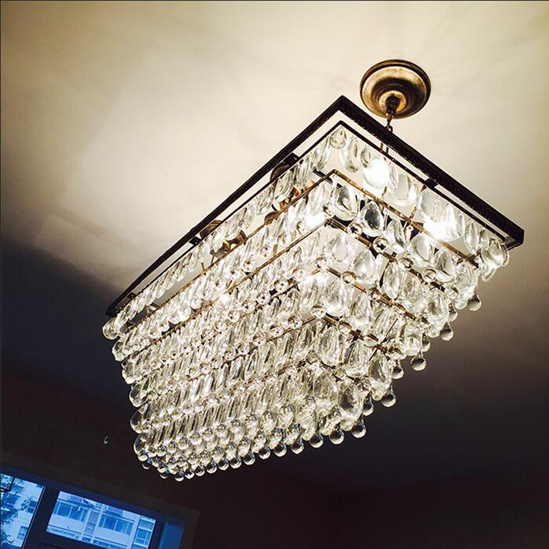 American country creative rectangular coffee restaurant living room chandelier retro iron art bar crystal villa Chandelier american living room retro art chandelier nordic country antler chandelier clothing store villa candle lamp