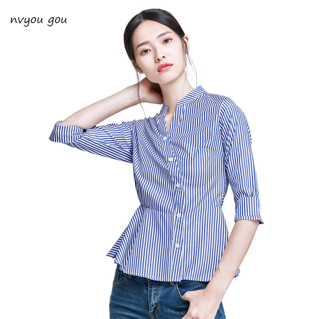 e2d85438 Blue And White Striped Shirt Women 2018 Summer Fashion Peter Pan Collar Blouse  Short Sleeve Buttons Cotton Tops And Blouses