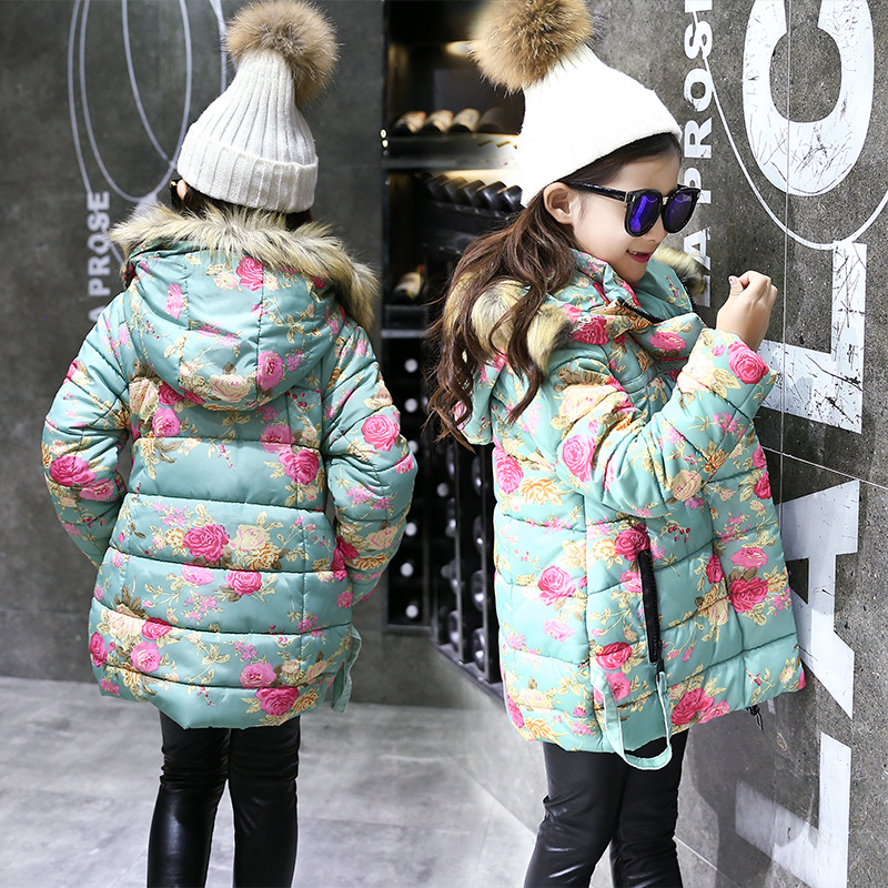 New Girls Child Korean Winter Floral Fur Collar Hooded Long Jacket Coat Girl JacketNew Girls Child Korean Winter Floral Fur Collar Hooded Long Jacket Coat Girl Jacket