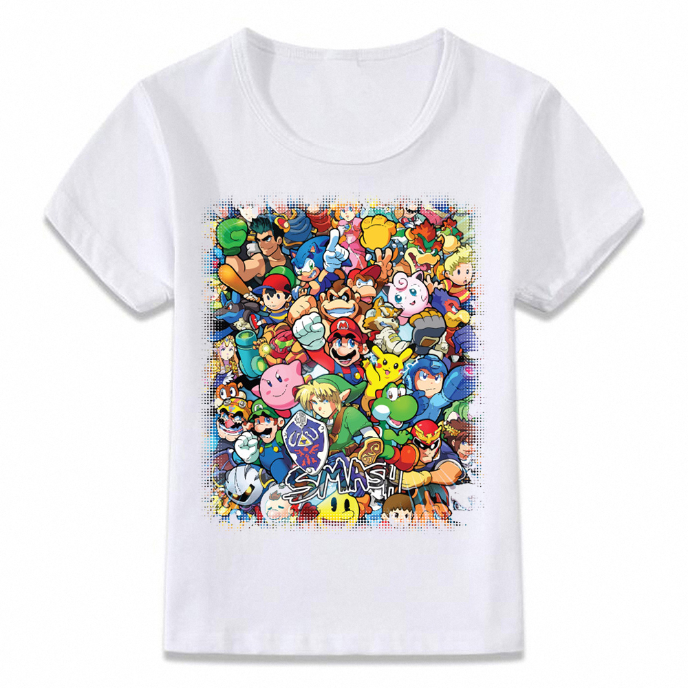 Kids Clothes T Shirt Super Smash Bros Mario Link Star Fox Pikachu Children T-shirt for Boys and Girls Toddler Shirts Tee