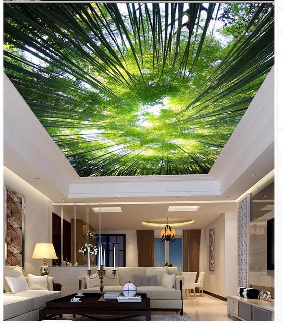 Wallpaper 3d Mural Bamboo Living Room Bedroom Ceiling Sky