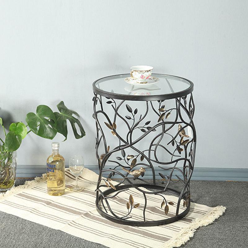 Винтаж круглый Гостиная диван балкон маленький круглый столик, гладить Чай стол закаленное Стекло, творческий мебель