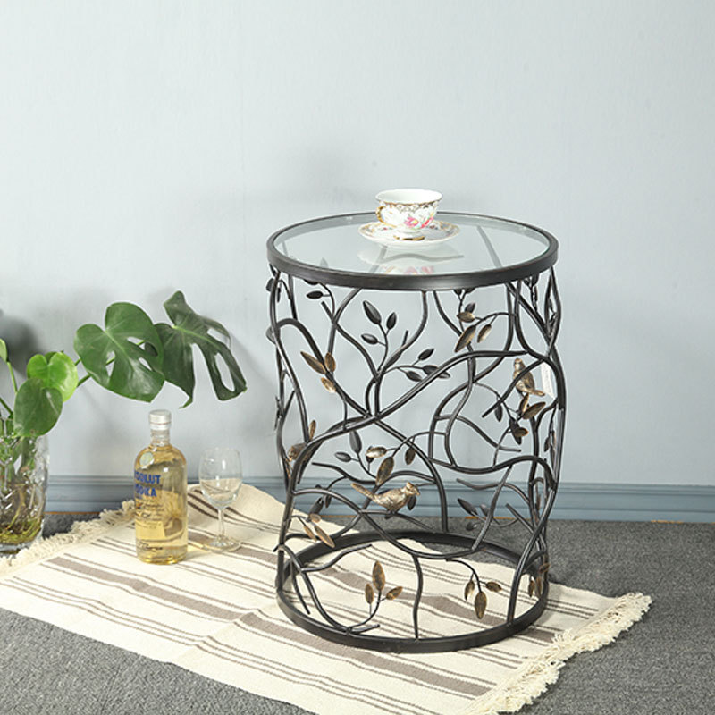 Vintage Round Living Room Sofa Balcony Small Round Table Side Table, Iron Tea Table Tempered Glass, Creative Furniture minimalism iron tea table creative small end table sofa side coffee table living room furniture