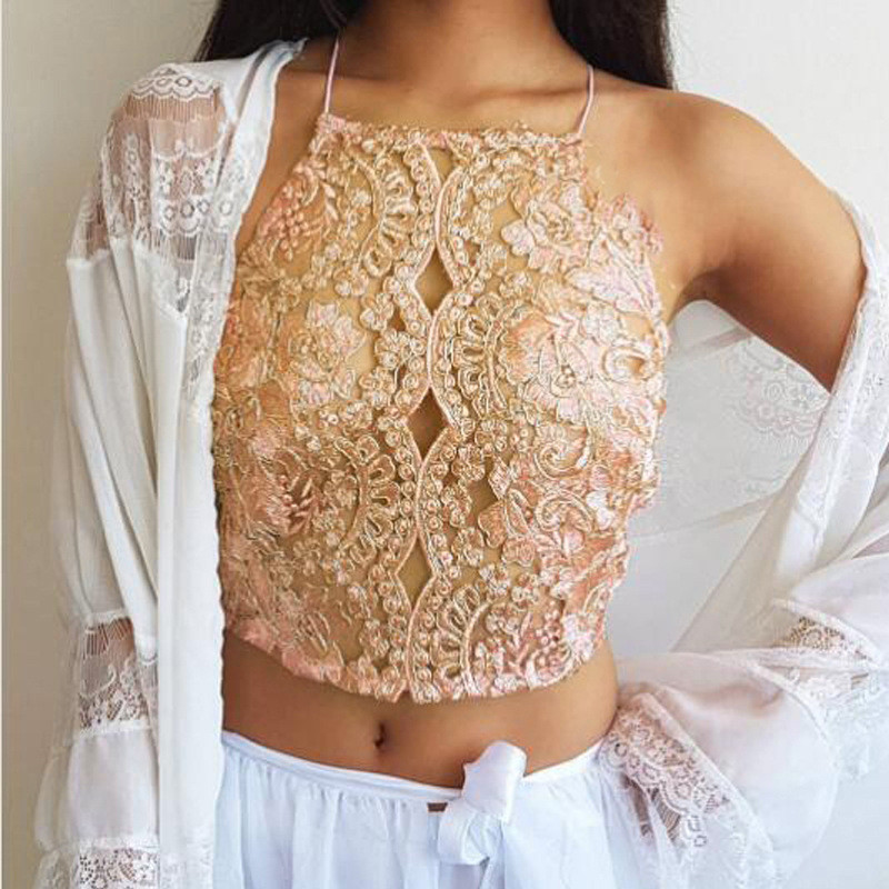 Summer New European 2018 Sexy Women Camis Hollow Out Lace Camisole  Sleeveless Clubwear Tops Short Tanks Embroidery Intimates