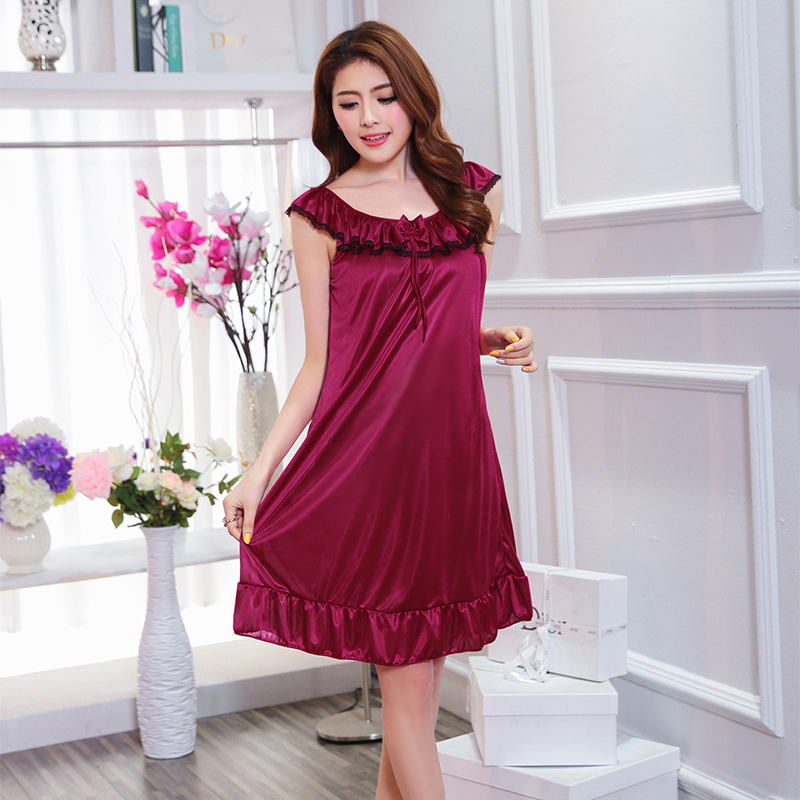 <font><b>Hot</b></font> Sale New women lace <font><b>sexy</b></font> nightdress <font><b>girls</b></font> plus size bathrobe ladies large size Sleepwear nightgowns female sleepshirt <font><b>XXL</b></font> image