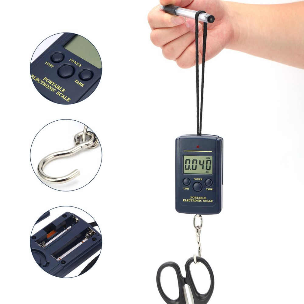 Digital Weight Luggage Scales Load 40Kg Bascula Balanza Digital Pocket Weighting Fishing Scale Hanging Balance Scale Weight Auto