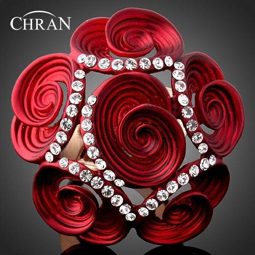 CHRAN золото Цвет Austiran Кристалл женские кольца для вечерние изделия прекрасные дамы розы Дизайн обещал обручальные кольца