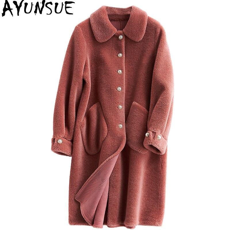 AYUNSUE натуральная шерсть пальто с мехом женская одежда 2018 Длинные зимняя куртка Для женщин Корейский стрижки овец Manteau Femme Hiver WYQ2100