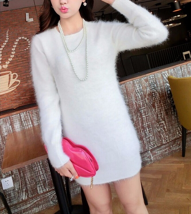 2019 New Arrival 100 Pure Mink Cashmere Fur Sweater Dress Real True Mink Cashmere Pullovers Genuine