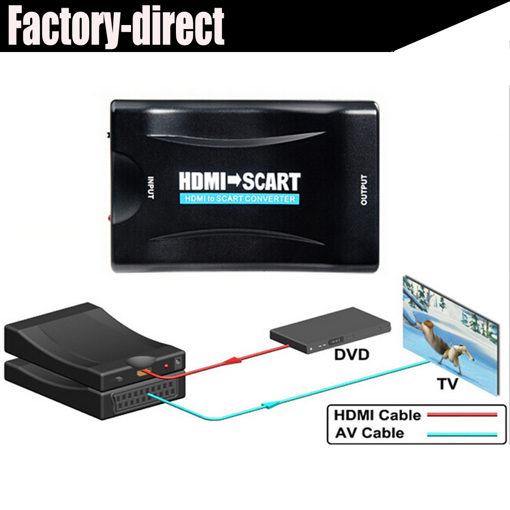 1080p hdmi to scart converter kabel with power supply for ps4 dvd ect to old tv with scart in. Black Bedroom Furniture Sets. Home Design Ideas