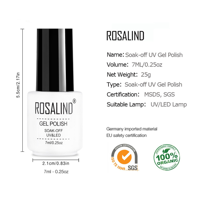 ROSALIND Gel Polish Set For Manicure Semi Permanent  Hybrid Nails Gel For Nail Base Soak Off  Primer 2019 Top Base Coat Lacquer 5