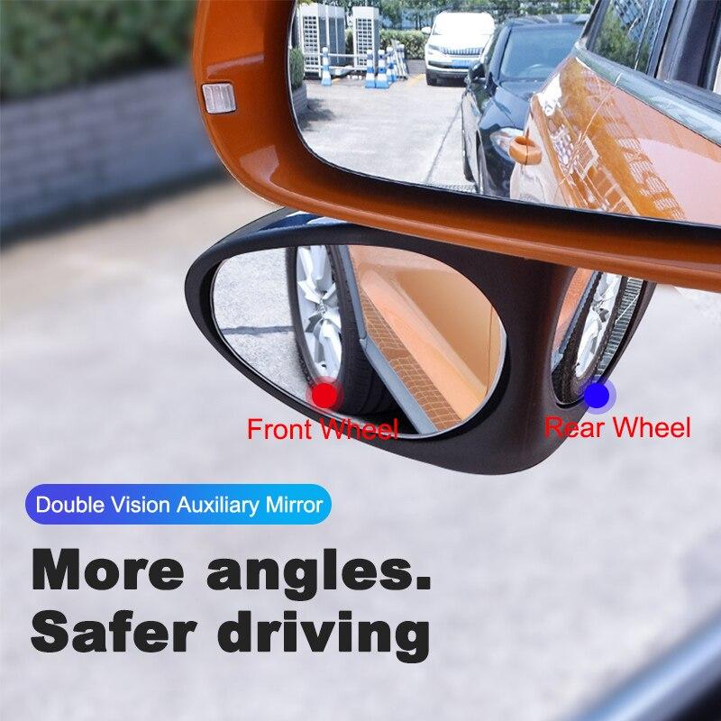 Otomobiller ve Motosikletler'ten Ayna ve Kapaklar'de 360 Dönebilen Ayarlanabilir Araba dikiz aynası 2 in 1 kör nokta ayna Geniş açı isimli ön arka tekerlek dikiz aynası yardımcı title=