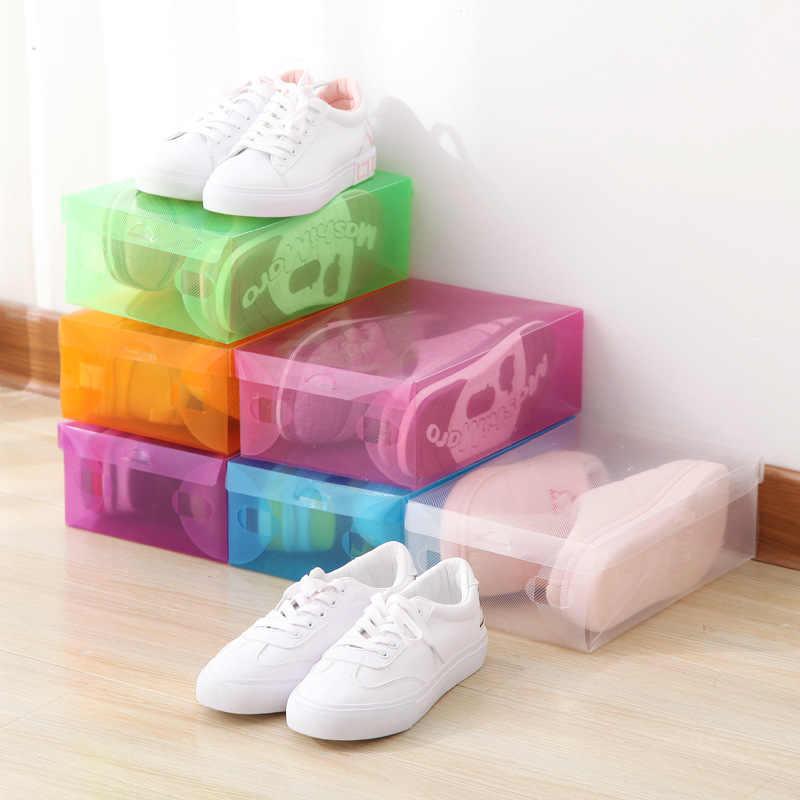 Caso Caixa De Armazenamento De sapato de Plástico Transparente Caixa de Armazenamento Retângulo PP Organizador de Sapato Espessamento Caixa de Sapato gaveta