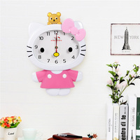 The Cartoon Children Wall Clock Abs Plastic Stainless Steel Machine Core Hello Kitty Wall Clocks My Melody Kt Cat Cuddly Shape