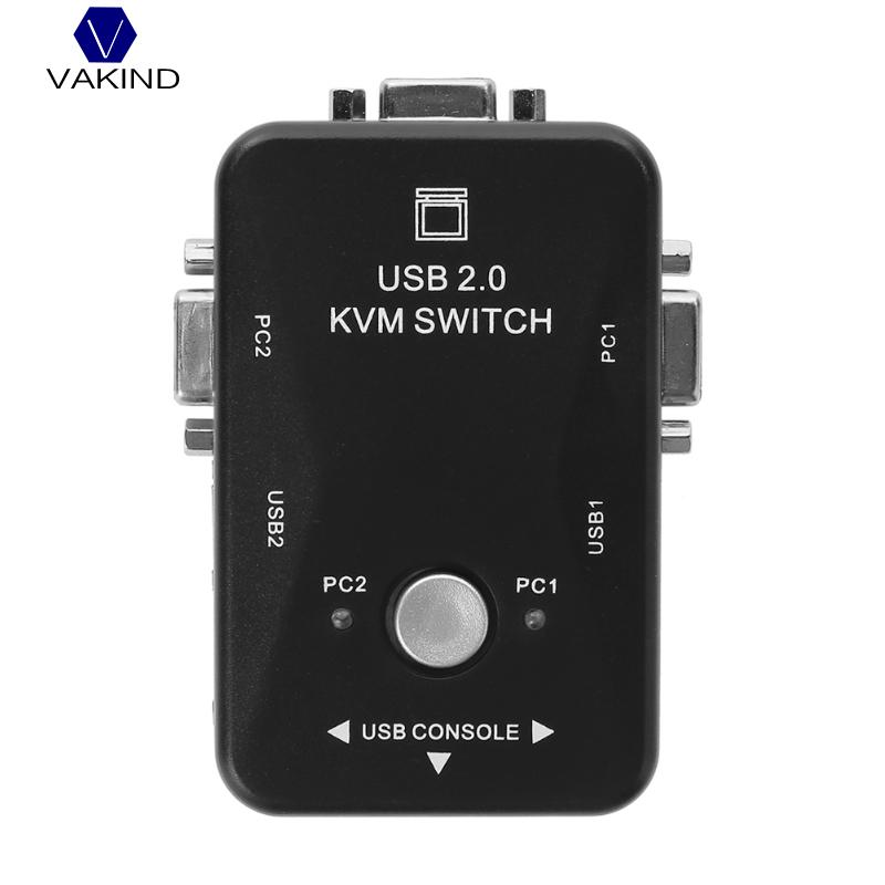 VAKIND 2 Ports USB2.0 VGA Switch Box Maximum Resolution 1920 x 1440 For Mouse Keyboard Monitor Sharing Computer PC