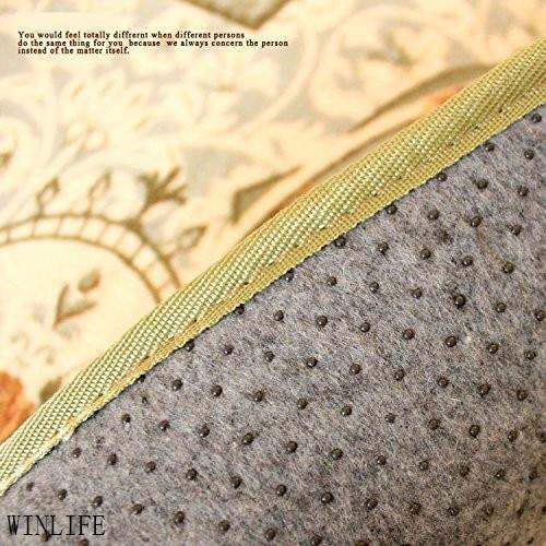 WINLIFE tapis de chambre rustique européen Roses méditerranéennes tapis de chambre moderne grands tapis Beige - 6