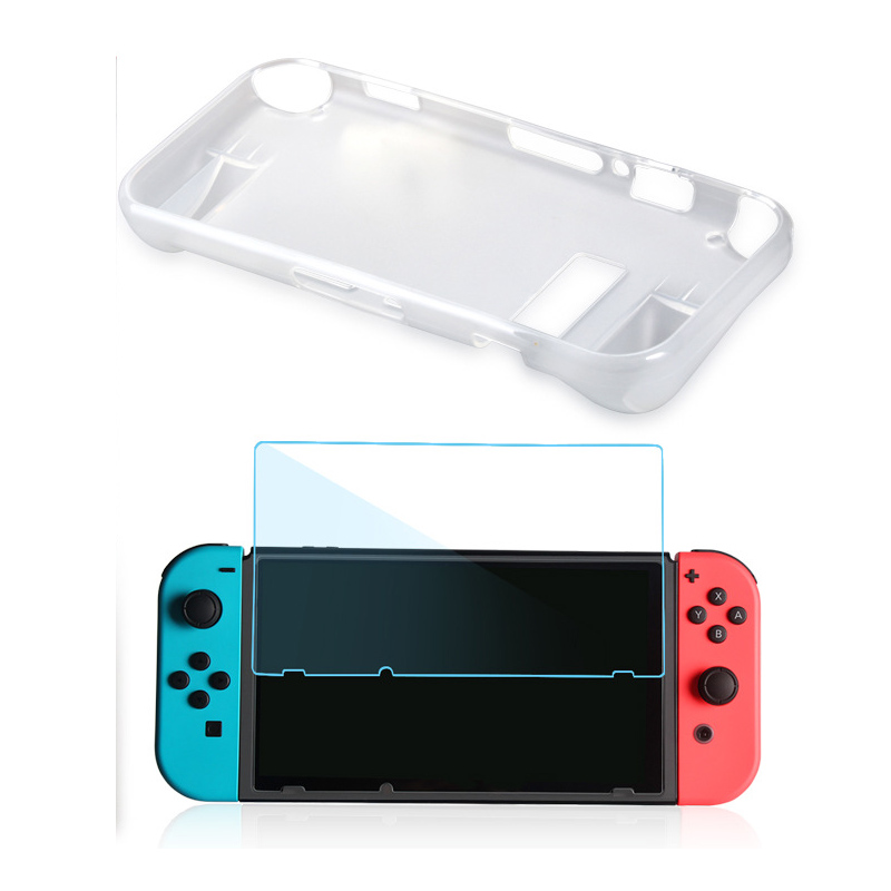 Купить с кэшбэком For Nintend Switch NS 2 in 1 kit Anti-Scratch Silicone Crystal Back Protective Full-Body Case Cover+HD Screen Filter Film For NS