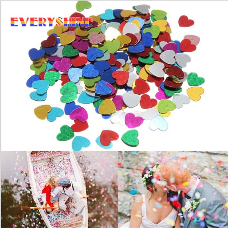 1000pcs/pack Multicolor Shine Romantic Sparkle Love Heart Wedding Party Confetti Table Decoration Birthday Party Supplies JJ550