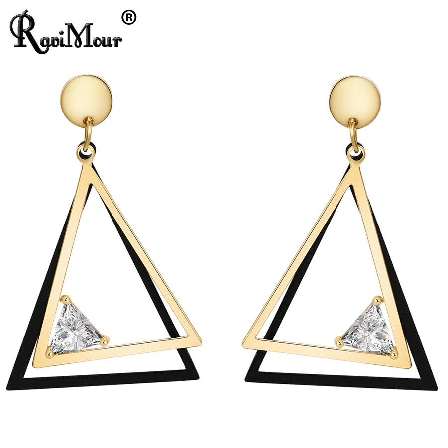 a29875504651 Ravimour 3 estilos punk geométrica Pendientes para las mujeres joyería  Boucle d oreille moda pendiente largo oro plata color brincos