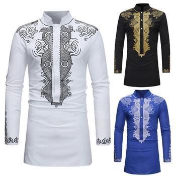 9635f28d116 2018 podzim zbrusu nové mužské košile topy národní elegantní květinové  tištěné tričko límcem kouzlo muži tričko africe velké velikosti m-3xl
