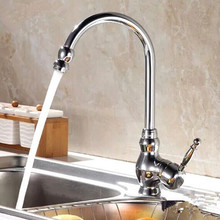 Бесплатная доставка Одной ручкой Кухня Раковина кран с цинковый сплав смеситель для кухни и латуни кухонная раковина воды смесители