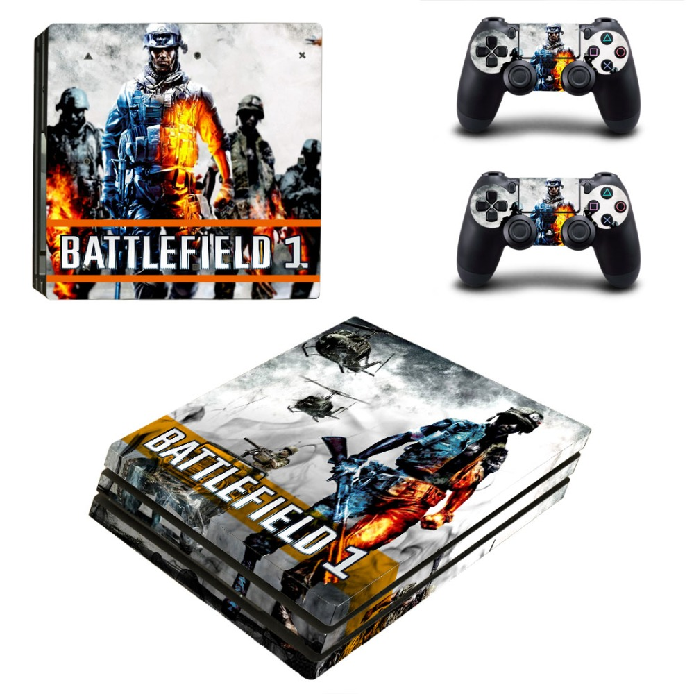 PS4 PRO for Playstation 4 PRO Console Skin Decal Sticker BATTLEFIELD 1 + 2 Controller Skins Set (Pro Only)
