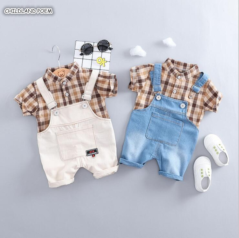 Baby Boy Clothes Summer Gentleman Baby Boys Clothing Set Plaid Shirt + Denim Pants 2Pcs Toddler Baby Clothes Set Boys Outfits