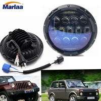 Marlaa New Design 7 inch round led headlight 130w For Land Rover 7Inch LED Headlamps with Amber Turn Signal For Lada Niva 4x4