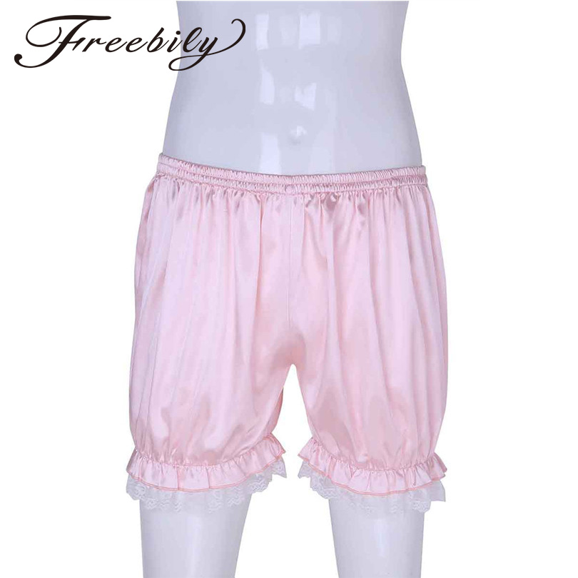FREEBILY Mens Sexy Fashion Lace Bloomers Knickers Shorts Panties Casual Summer Beach Shorts Lightweight Boxer Lounge Short Pants