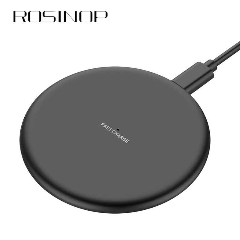 Rosinop QI Wireless Charger 10W For apple iphone Charger Wireless Fast Charging 5W Induction Charger For samsung S9 S8 Note8 9 in Mobile Phone Chargers from Cellphones Telecommunications