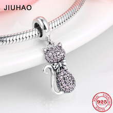 Hot 925 Sterling Silver Pink Sparkling CZ Elegant cat Charms For jewelry making Pendants Fit Original Charm Pandora Bracelets(China)