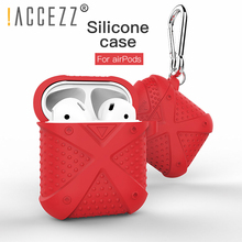 !ACCEZZ Bluetooth Wireless Earphone Case For Apple Airpods Charge Box Silicone Anti-slip Protective Cover Accessories With Hooks