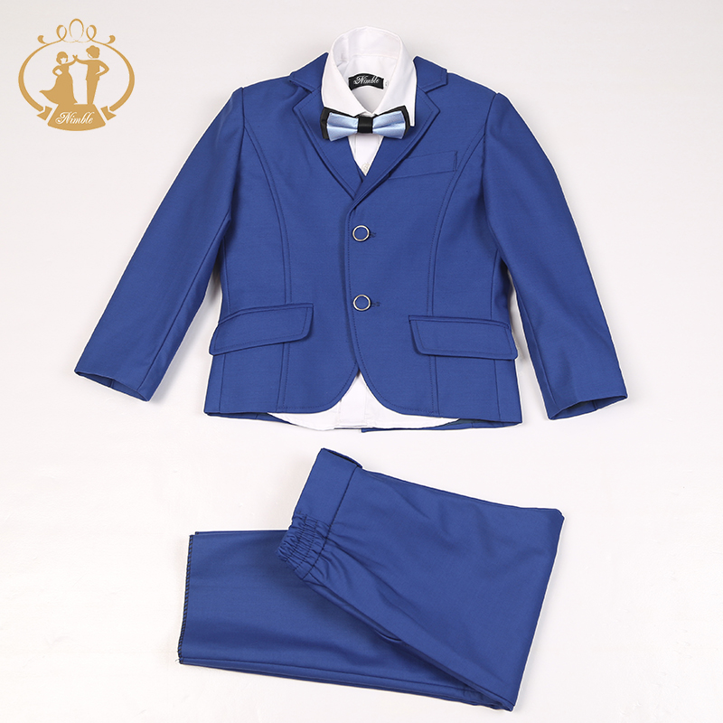 Nimble blue suit for boy Single Breasted boys suits for weddings costume enfant garcon mariage boys blazer jogging garcon color block splicing single breasted plus size thicken blazer page 2