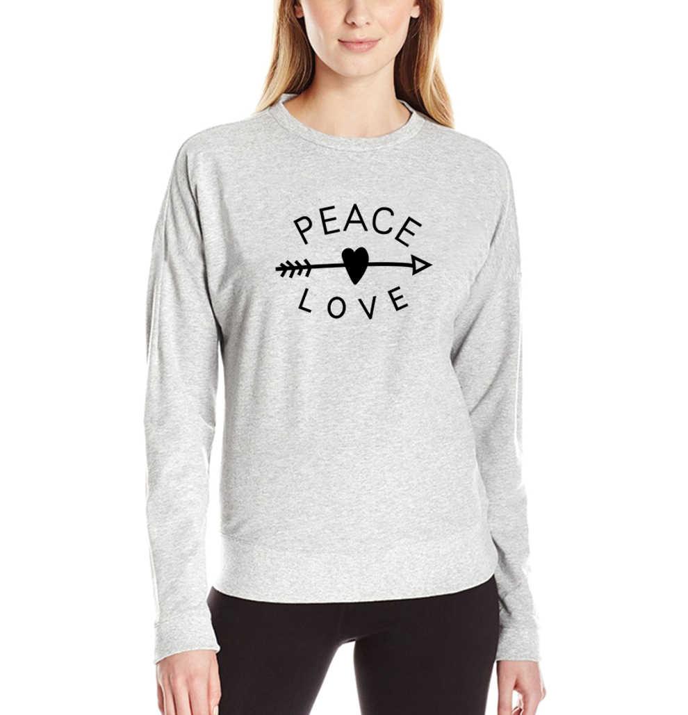Новая Женская толстовка с принтом в виде стрелы и сердца в стиле панк ММА 2019, забавные флисовые толстовки в стиле Харадзюку, верхняя брендовая одежда, топы с надписью PEACE & LOVE, хип-хоп