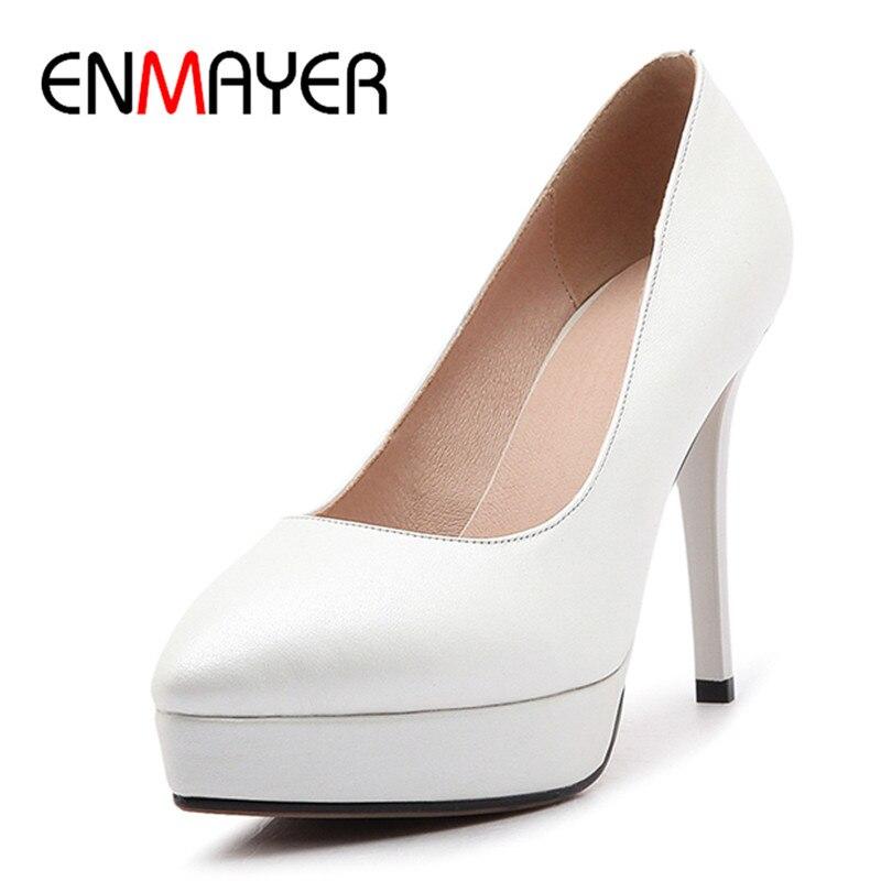 ФОТО ENMAYER 3 Colors White Shoes Woman High Heels Office&Career Pumps Size 39 Stilettos Platform Party Shoes 2017 Classic Black Red