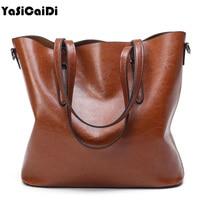YASICAIDI Luxury Designer Women Leather Handbags Large Capacity Black Oil Leather Shoulder Bag Crossbody Bags For