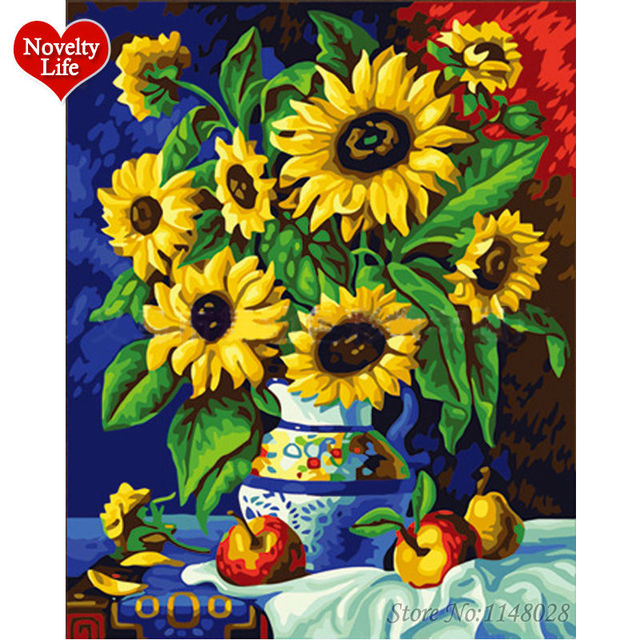 Sun Flower Vase Diy Picture Wall Acrylic Oil Painting By Numbers