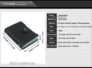 Image 2 - 100% Genuine Leather Credit Card Holder Men Card ID Holder Case Women Business Card Holder Large capacity with 60 Slots MC 902