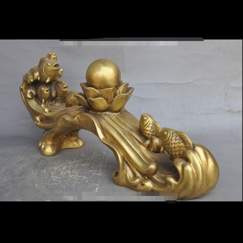 """Zhaorui4884356 + + 15 """"китайский латунь богатство 7 рыба lotus flower бусины Благоприятный повезло ruyi статуя"""
