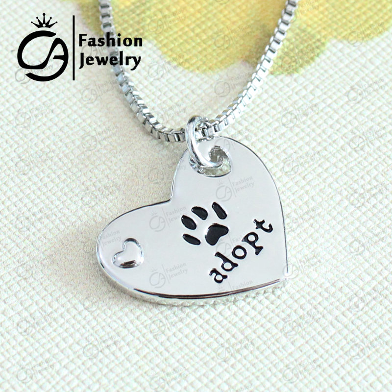 Adopt print on my heart Inspired Pendant Necklace Christmas Gift Jewelry 20Pcs/Lot #LN1177