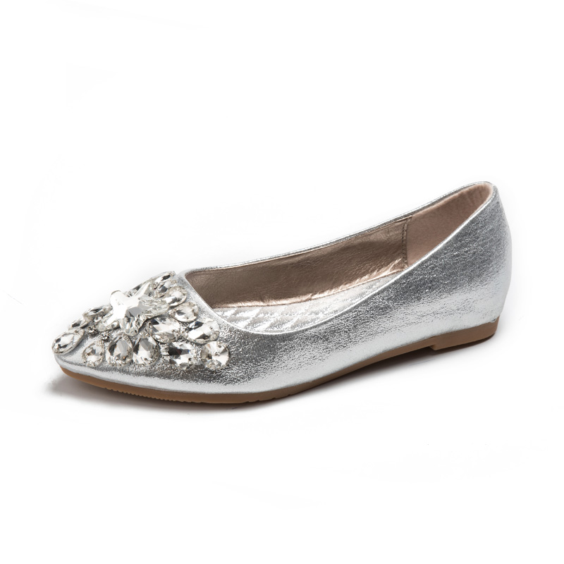 Rhinestone Flat Shoes Women Diamond Wedding Shoes Softt Bottom 2017Fashion  Pointed Toe Boat Shoes Gold Silver - Online Get Cheap Silver Wedding Shoes Flats -Aliexpress.com