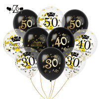 ZLJQ 10pcs Black Printing 30 40 50 Years Old Balloons Happy Birthday Decorations DIY Latex Balloon Home Decor Party Supplies