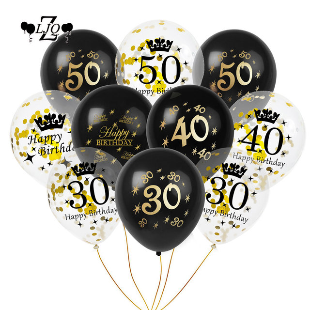ZLJQ 10pcs Black Printing Balloons Happy Birthday Decorations DIY 30 40 50 Years Old Latex Balloon