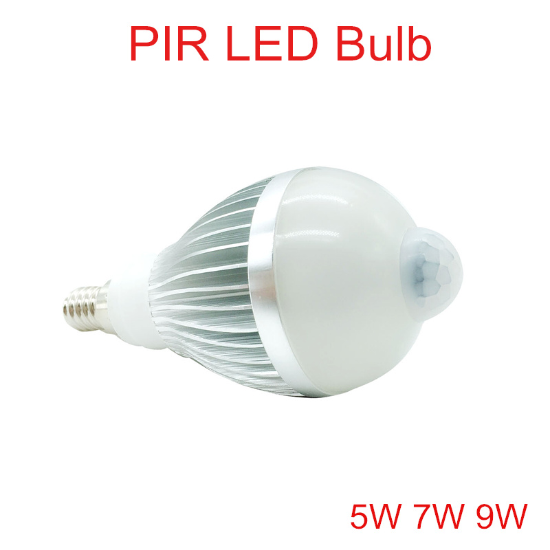 цена 5W 7W 9W PIR LED Bulb AC110V-240 E14 Motion Sensor LED Outdoor light Warm White/Cold Whtie PIR LED Bulb lamps lights