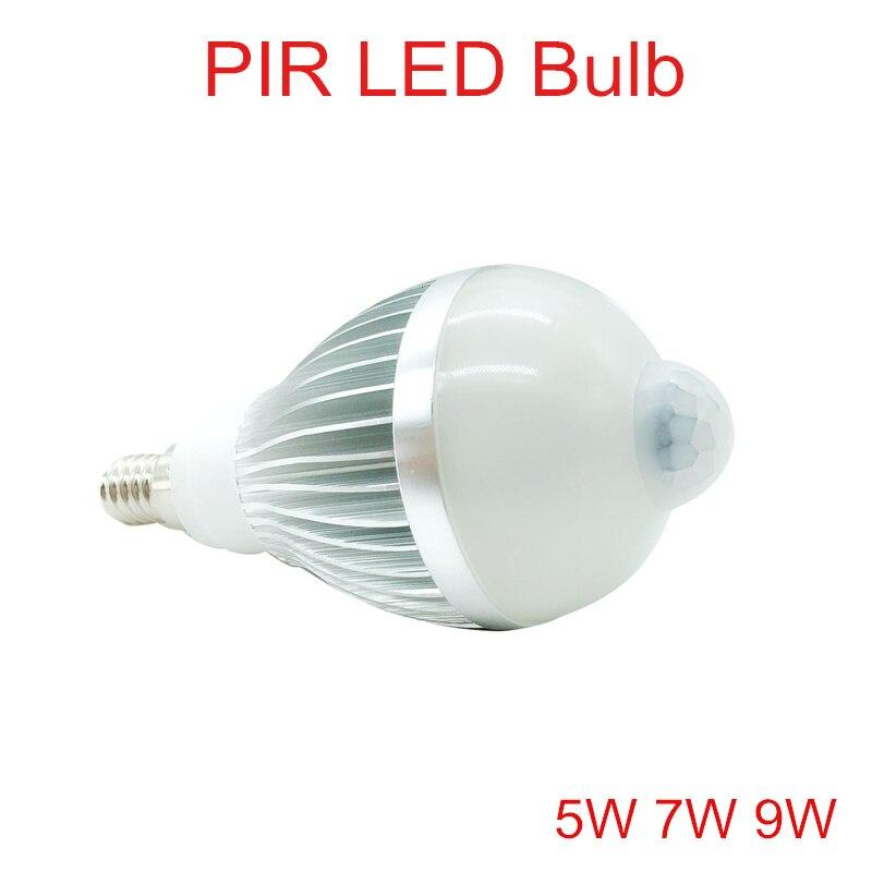 5W 7W 9W PIR LED Bulb AC110V-240 E14 Motion Sensor LED Outdoor Light Warm White/Cold Whtie PIR LED Bulb Lamps Lights
