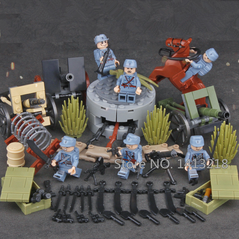 6pcs Chinese Army MILITARY World War 2 Soldier SWAT Weapon Gun Special Force Building Blocks Brick Figures Toy Boy Gift Children xinlexin 317p 4in1 military boys blocks soldier war weapon cannon dog bricks building blocks sets swat classic toys for children