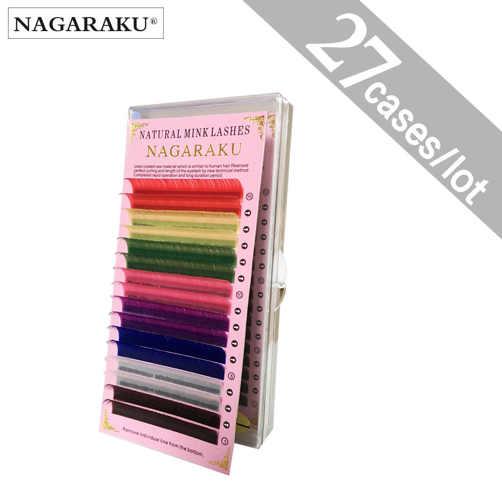 NAGARAKU 27cases 8 Colors Rainbow Colored Eyelash Extensions Faux Mink color eyelashes colorful cilia eyelash extension