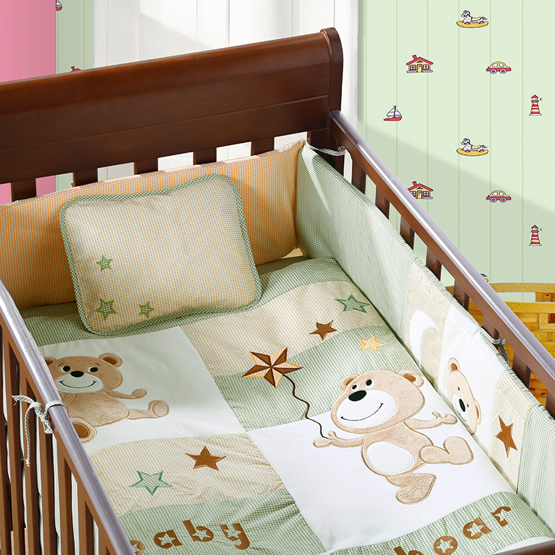 7PCS embroidered crib cot bedding set ,infant nursery set,baby bedding set baby bumper ,include(bumper+duvet+sheet+pillow) 4pcs embroidered cot bumpers set baby bedding set 100% cotton comfortable baby crib set include bumper duvet sheet pillow