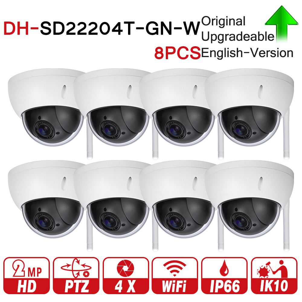 DH SD22204T-GN-W 2MP 1080P 4X Optical Zoom WiFi High Speed PTZ Wireless Network IP Camera WDR ICR DNR IVS IP66 IK10 8pcs/lot original dahua 1080p mini ptz ip camera dh sd22204t gn 4x zoom hd network speed dome camera onvif sd22204t gn with power supply